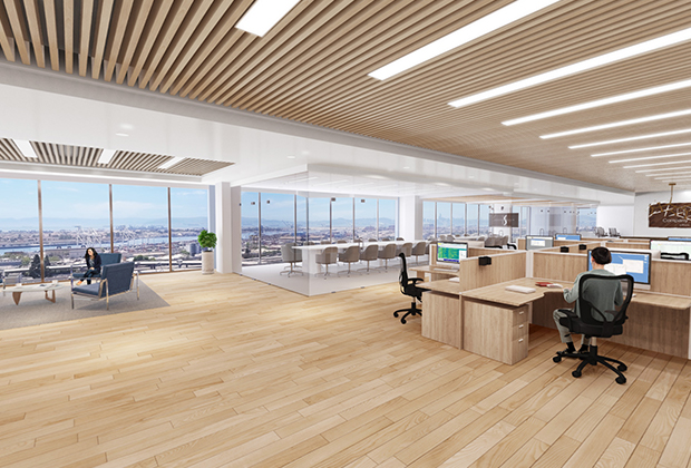 Image of high rise open office layout